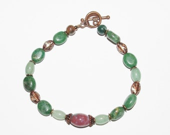 Gemstone Bracelet with Copper Accents                             - S730