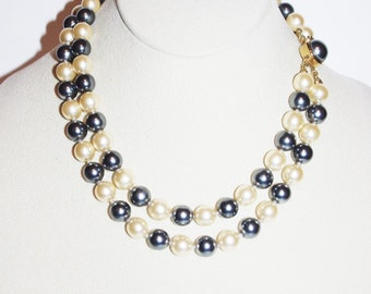 Joan Rivers Pearl Necklace - Gray and White Faux Pearls                     - S1079
