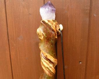 Maple wood, Wizard staff/ Hiking staff/ Crystal top staff. Handmade with Amethyst crystal.