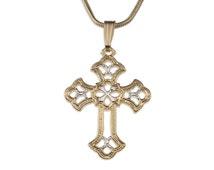Celtic Cross Pendant & Necklace , Hand cut Celtic Cross Medallion, ( # 815 )