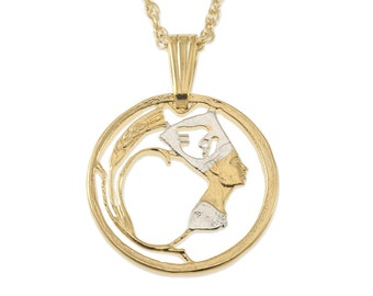 """Egypt Nefertiti Jewelry Pendant and Necklace, Egypt Five Mills coin hand cut, 14 Karat Gold and Rhodium plated, 5/8"""" in Diameter, ( # 87 )"""