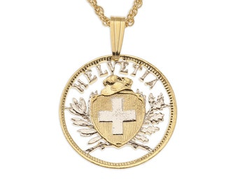 """Switzerland Pendant and Necklace, Switzerland Two Rappen Coin Hand Cut, 14 Karat Gold and Rhodium plated, 3/4 """" in Diameter, ( # 292 )"""