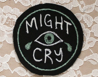 MIGHT CRY punk jacket embroidered patch