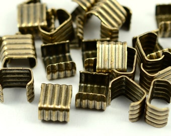 48 Pieces Antique  Brass 7x8 mm Brass Fold Over Crimp Head, Leather Loop Findings