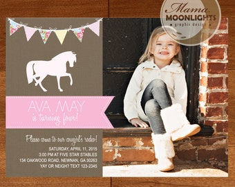 Birthday Party Invitation Digital Printable 5x7 Cowgirl Cow Girl Rodeo Photo Card ( Burlap, Flowers, Stripes, Horse, Pennants)