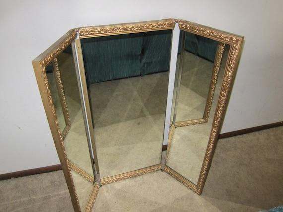 Vintage Tri-Fold Vanity Mirror Large Ornate Frame Gold Trim - Snap Vintage Tri Fold Vanity Mirror Large Ornate Frame Gold Trim