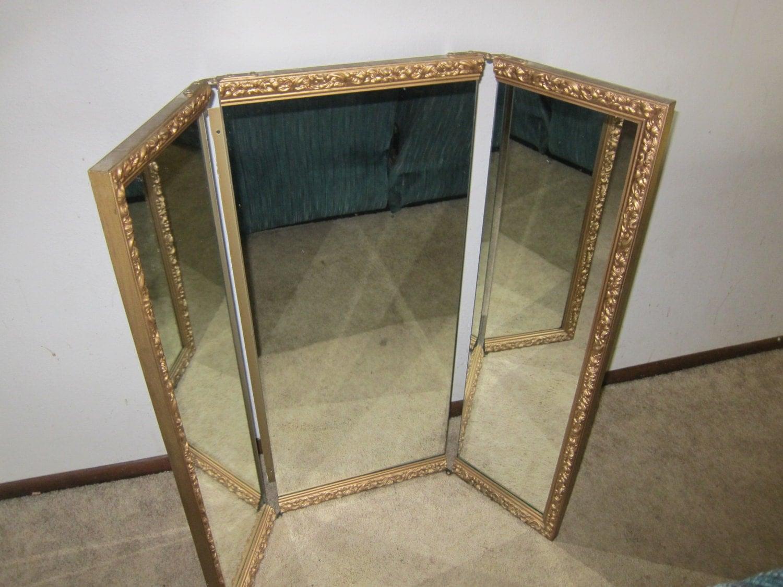 Vintage tri fold vanity mirror large ornate frame gold trim for Tri fold mirror