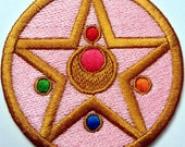 "Sailor Moon Sailormoon Transformation Compact Locket Inspired 3"" Patch Fully Wrapped Edges Sew / Iron On or Velcro Backed"