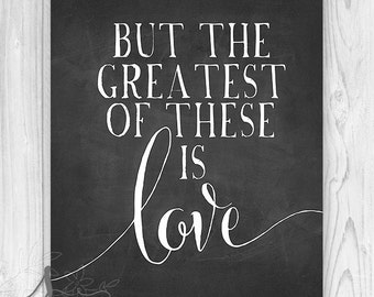 Chalkboard Scripture Poster, Bible Verse Art Print, Bible Typography Quote, But the Greatest of these is Love, Scripture Home Decor, Poster