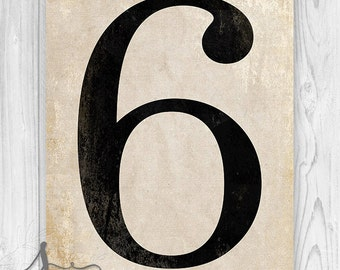 Number Six Art Print, Numerology, Vintage Number Decor, Number Poster Art, Number Wall Art Print, Numeral Print, Wall Art Print, Home Decor