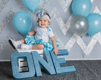 Glitter Letters-ONE-first birthday personalized letters