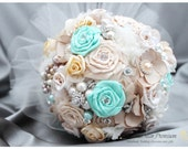 Brooch Bouquet Jeweled Bouquet Beaded Flower Bouquet Pearl Wedding Bridal Bouquet in Champagne, Mint Aqua Blue, Ivory