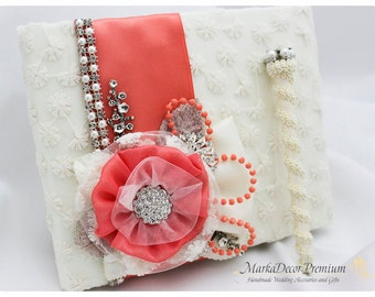 Wedding Lace Guest Book and a Pen Set Custom Birthday Book Jeweled Bridal Flower Brooch Guest Books Beaded Guest Book in Ivory and Coral