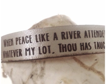 Silver It Is Well With My Soul 1ST VERSE: Daily Reminder Leather Bracelet