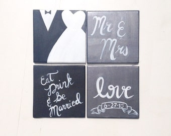 """WEDDING Gift Set - """"Eat drink and be Married"""" Coasters - Engagement Gift - Housewarming Gift"""