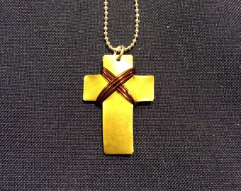 Petite Metal Cross Necklace with Wire  Wrap