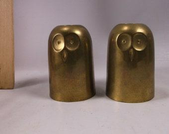 Vintage Cast Brass Owl Candle Incense Burner Holders Pair . epsteam