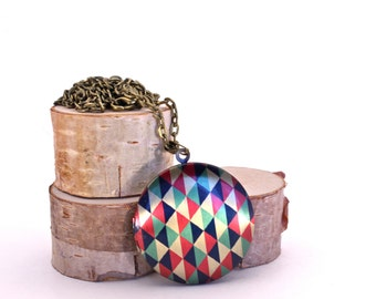 Geometric Locket Necklace // Triangle Locket // Vintage Brass // Geometric Pattern