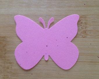 50 Pink Butterfly Die Cut Tags