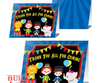Circus Thank You Cards/ Instant Download/ DIY/ Carnival Theme