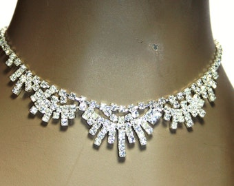 Rhinestone Choker Necklace Earring Set Pageant Austrian Crystal Prom Bridal