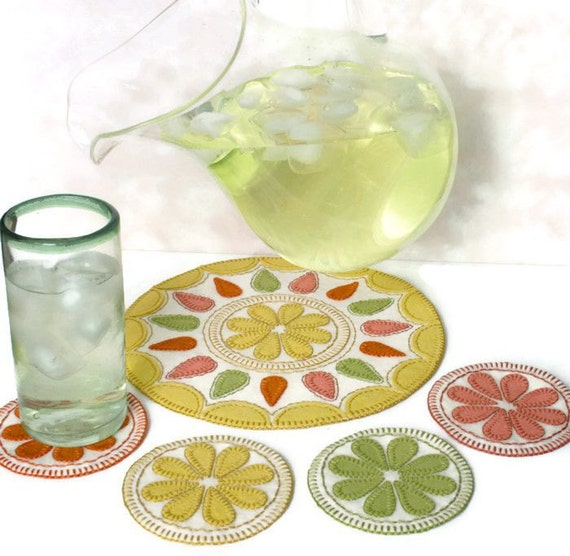 Summer delight penny rug pattern drink coasters juice for Best coasters for sweaty drinks