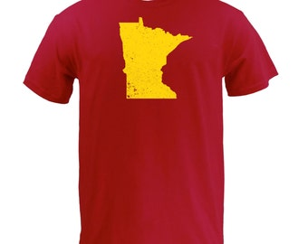 Distressed Minnesota State Shape - Cardinal