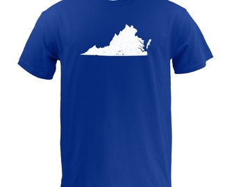 Distressed Virginia State Shape - Royal