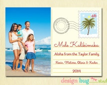 Hawaiian Christmas Card - Mele Kalikimaka - Family Holiday Photo Card - Hawaii Christmas Vacation Postcard - 1, 2 or 3 Pictures