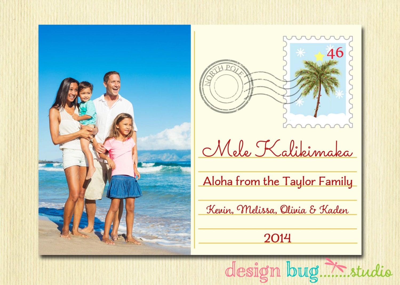 Hawaiian Christmas Cards Mele Kalikimaka