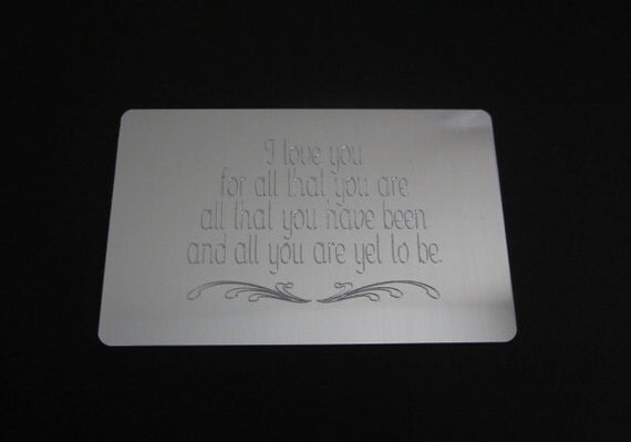 Wedding Gift Engraved Message : Personalized Wallet Card. Customized Message Card. Engraved