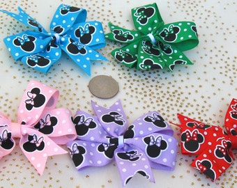 Medium Minnie Mouse Pinwheel Bow Set - FREE SHIPPING - Minnie Mouse Pinwheel Hair clip - Minnie Themed Party-Minnie Party Favor - BowBravo