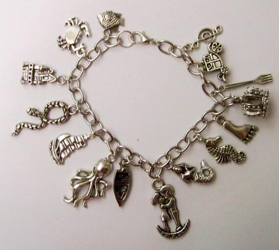 mermaid themed charm bracelet fairytale jewelry ariel