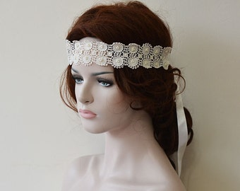 Rustic Wedding Headband,   Lace Wedding hair Accessories, Handmade lace with pearls, Bridal Headband, Wedding Hair Accessories