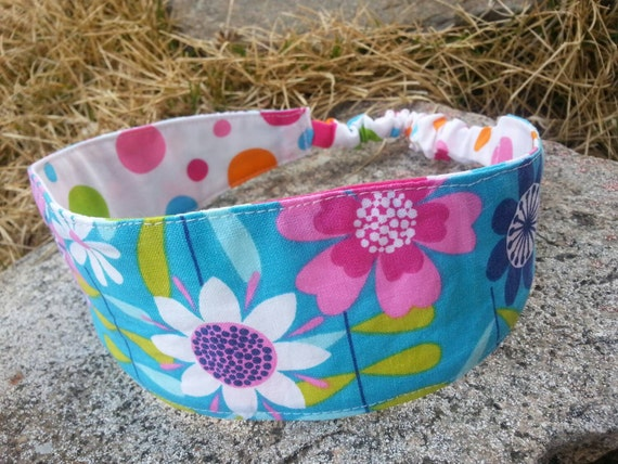 Turquoise & Pink Headband, Ladies Reversible Polka Dot Headband