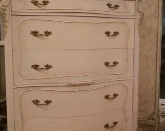 SOLD - - Antique French Provincial highboy dresser