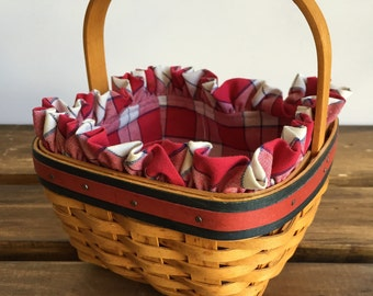 Vintage Longaberger Strawberry Basket with Red, White & Blue Plaid Liner in Excellent Condition-All American, Fixed Handle