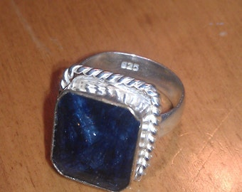 Vintage Sterling Silver Square Dark Blue Stone Ring Size 8 1/2