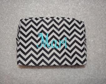 Make up bag, Monogrammed make up bag, make up bag, cosmetic bag, chevron bag, Top seller