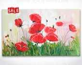 Red Poppies ORIGINAL Abstract Palette Knife Landscape Fine Art Bright Oil Flower Painting on 20x12 Canvas by Denisa Lauras