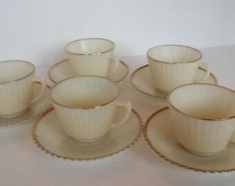 MacBeth Evans Cremax Cups and Saucers -Set of 4