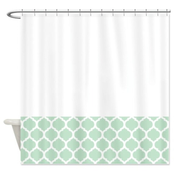 quatrefoil shower curtain white and mint pattern or customize