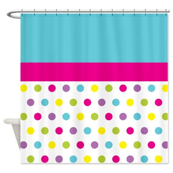 Great Polka Dot Shower Curtain Custom Grayed Jade Mint Coral Grey White Customize  With ANY Colors Standard Or Extra Long Size Bathroom Decor