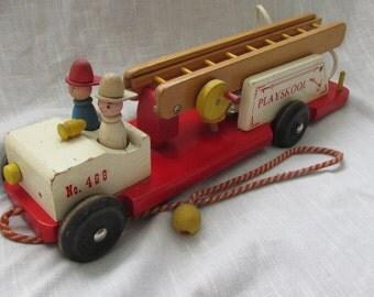 """Vintage Playskool Wooden Firetruck #468 Playskool 1962 16""""L x 5""""W"""
