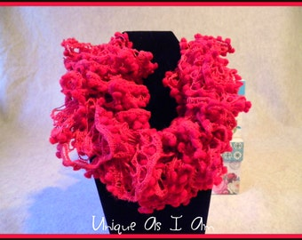 Crocheted Ruffle Bobble Scarf