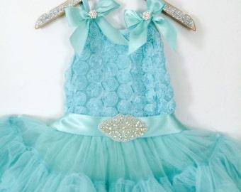 TuTu Tiffany's Girl Inspired Chiffon Tiffany Blue Full & Fluffy Petti Dress. First Birthday. Birthday Girl.Wedding. Flower Girl. Photo Shoot
