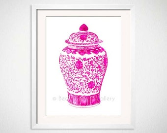 Pink Ginger Jar Art, Hot Pink Chinoiserie Art Print, Palm Beach Chic Decor, Pink Asian Vase Wall Art, Hot Pink Wall Art, Hot Pink White Vase