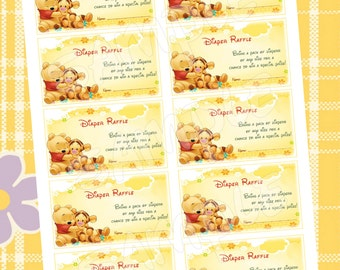 Winnie the Pooh Diaper raffle tickets - Instant download
