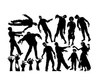Halloween Window Cling Set of 11 Zombies and 5 Zombie Hands