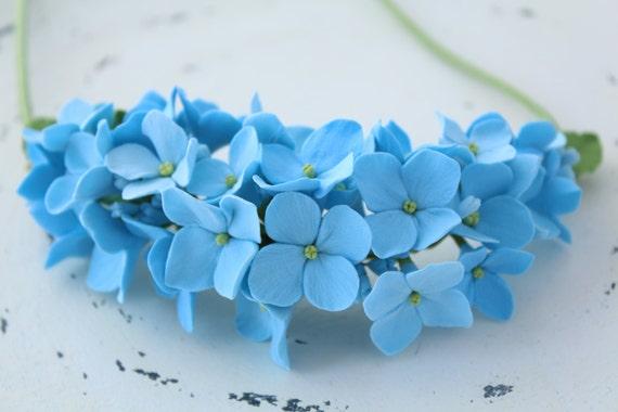 Three in one: corsage, necklace or headband. Light blue hydrangea.  polymer clay flower.